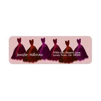 PINK RED PURPLE Wedding Label with Gowns Return Address Label
