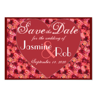 Pink red rose valentine Save the Date invites