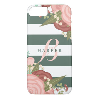 Pink & Red Roses Green Stripes | Monogram iPhone 8/7 Case