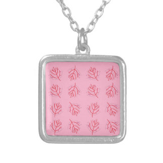 PINK  RED Seaweeds. T-shirts and more Silver Plated Necklace