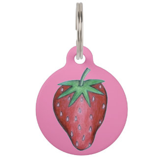 Pink Red Strawberry Berry Fruit Dog Pet Tag