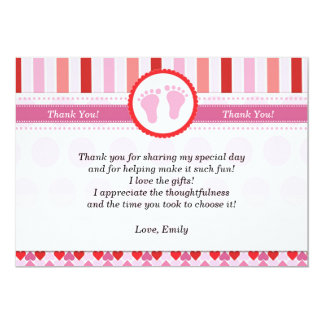 """Pink Red Stripes Baby Girl Shower Thank You Card 5"""" X 7"""" Invitation Card"""
