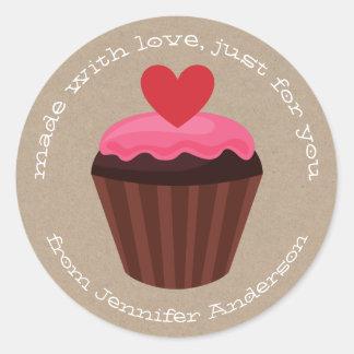 Pink Red Sweet Treat Cupcake Valentines Day Classic Round Sticker