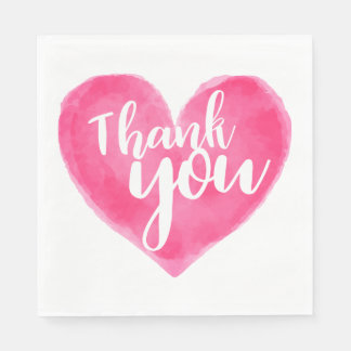 Pink Red Thank You Watercolor Heart  - Wedding Paper Napkin
