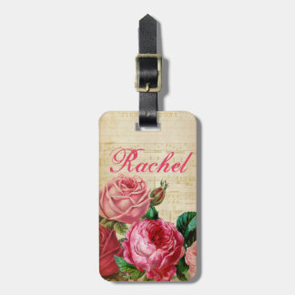 Pink & Red Vintage Roses Floral & Sheet Music Luggage Tag