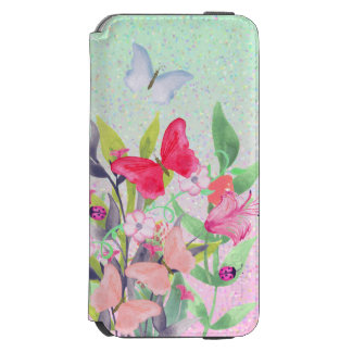 Pink & Red Watercolor Flowers & Butterflies Incipio Watson™ iPhone 6 Wallet Case