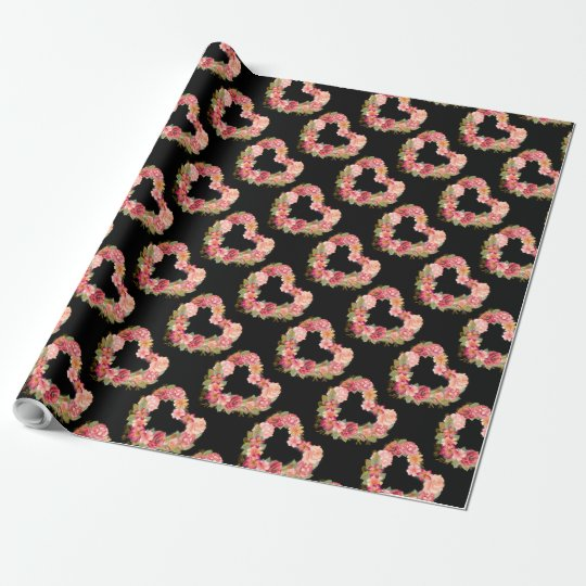 Pink Red Watercolor Heart Wreath on Black Wrapping Paper