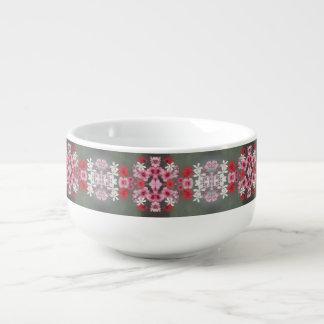 pink red white flower soup mug