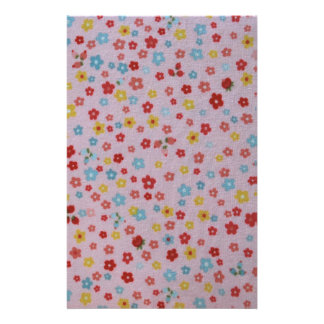 pink, red, yellow, and blue flowers stationery design