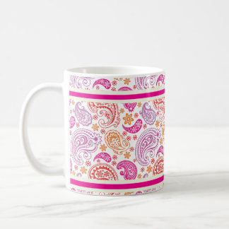 Pink Red & Yellow Paisley Pattern Design Coffee Mug
