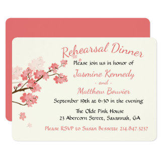 Pink Rehearsal Dinner Cherry Blossoms Flower Card