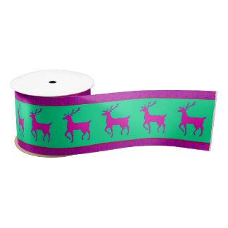 Pink reindeer Christmas Satin Ribbon
