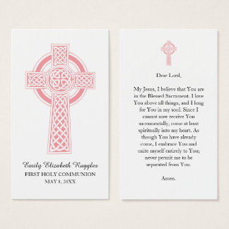 Pink Religious Cross First Communion Prayer Card