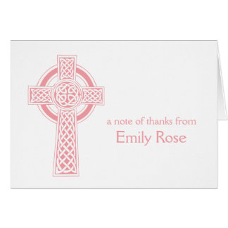 Pink Religious Irish Cross Thank You Card