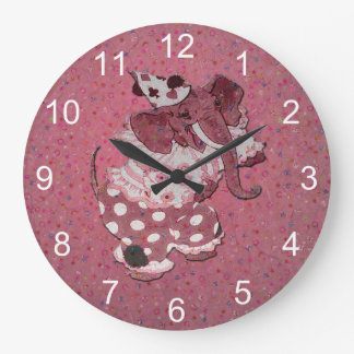Pink Retro Circus Elephant Large Clock