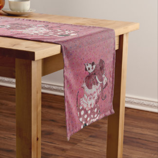 Pink Retro Circus Elephant Short Table Runner