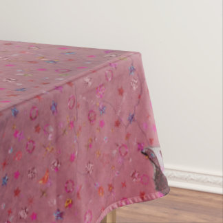 Pink Retro Circus Elephant Tablecloth