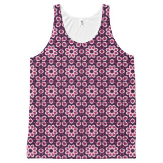 Pink Retro Floral Pattern on Purple All-Over-Print Tank Top