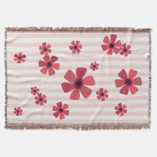 Pink Retro Floral with Pink and Cream Stripes Throw Blanket