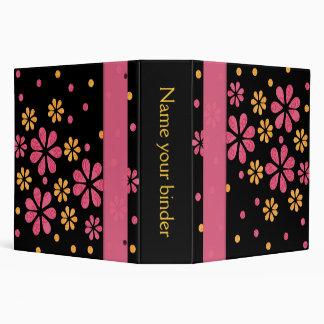 Pink Retro Flowers Dots 2 inch Designer 3 Ring Binders