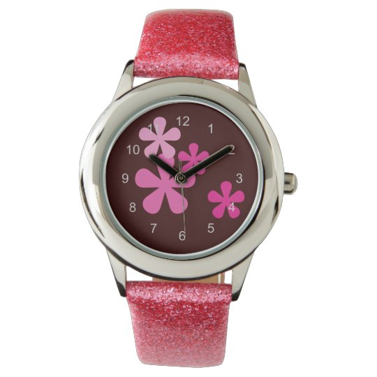 Pink Retro Flowers Watch