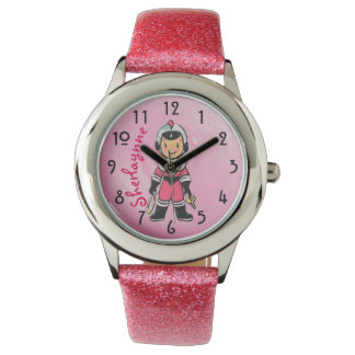Pink Retro Girl Astronaut - Personalized Watches
