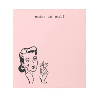 Pink Retro Lady Note to Self Memo Pad