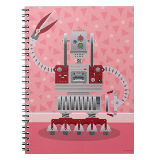 Pink Retro Robot Notebook