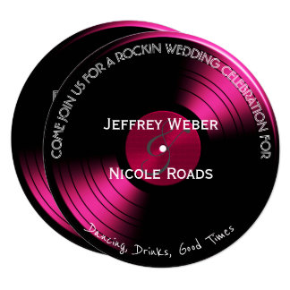 Pink Retro Rock n Roll Vinyl Record Wedding Card