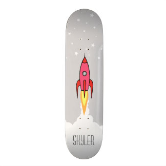 Pink Retro Rocket Ship Stars Personalized Monogram Skateboard Decks