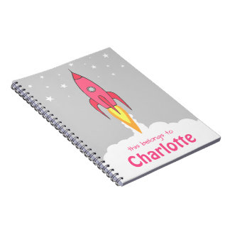 Pink Retro Rocketship Cute Cartoon Personalized Spiral Note Book