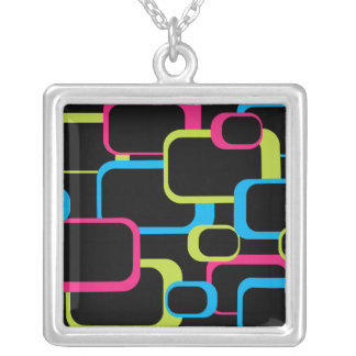 Pink Retro Square Necklace
