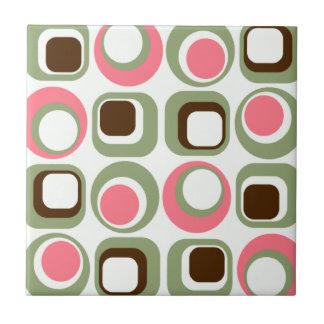 Pink Retro Squares & Circles Tiles