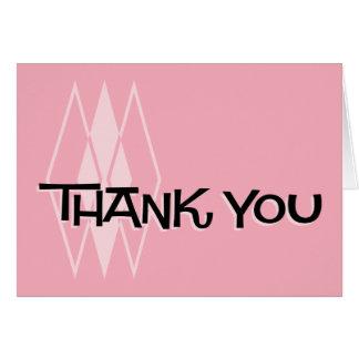 Pink Retro Thank You Notecard: MCM Diamonds Card