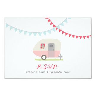 Pink Retro Trailer & Bunting Wedding RSVP Card