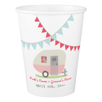 Pink Retro Trailer Wedding Cups Paper Cup