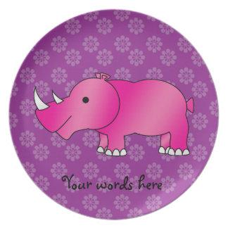 Pink rhino purple flowers plate