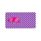 Pink rhino purple white polka dots label