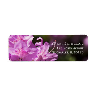 Pink Rhododendron Blossoms Return Address Label