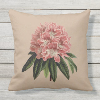 Pink Rhododendron Botanical Outdoor Pillow 20x20