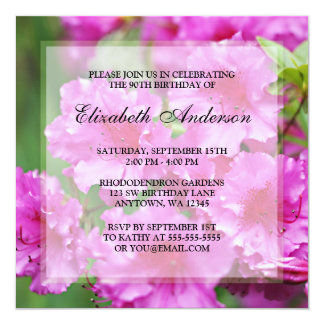 "Pink Rhododendron Flowers 90th Birthday Party 5.25"" Square Invitation Card"