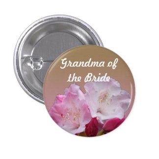 pink rhododendron flowers wedding button