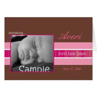 Pink Ribbon Birth Announcement Greeting Card