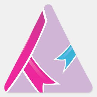 Pink Ribbon Blue Ribbon Triangle Sticker