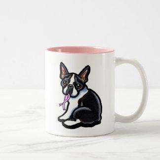 Pink Ribbon Boston Terrier Two-Tone Coffee Mug