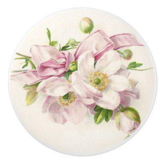 Pink Ribbon Bouquet Ceramic Knob
