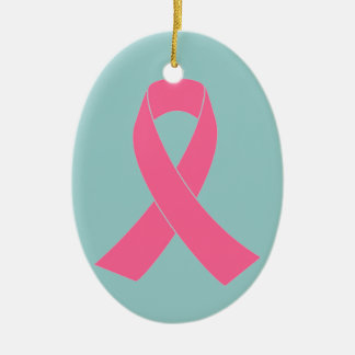 Pink Ribbon - Breast Cancer Awareness Ceramic Oval Ornament