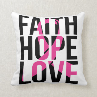 Pink Ribbon Breast Cancer Faith Hope Love Throw Pillow