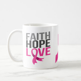 Pink Ribbon Breast Cancer Hope Faith Love Coffee Mug