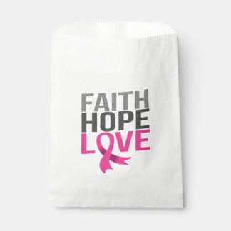 Pink Ribbon Breast Cancer Hope Faith Love Favour Bag
